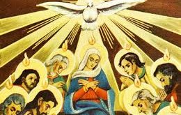 holy spirit descends on mary and apostles
