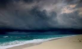 rain storm on beach